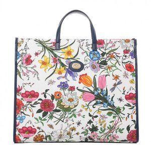 Gucci Navy Blue Canvas Floral Print Medium Tote